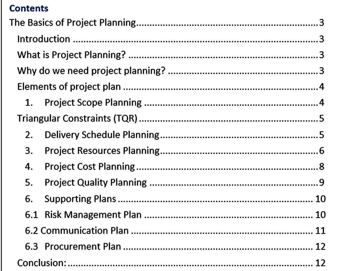 Templates Basic Project Planning Te
