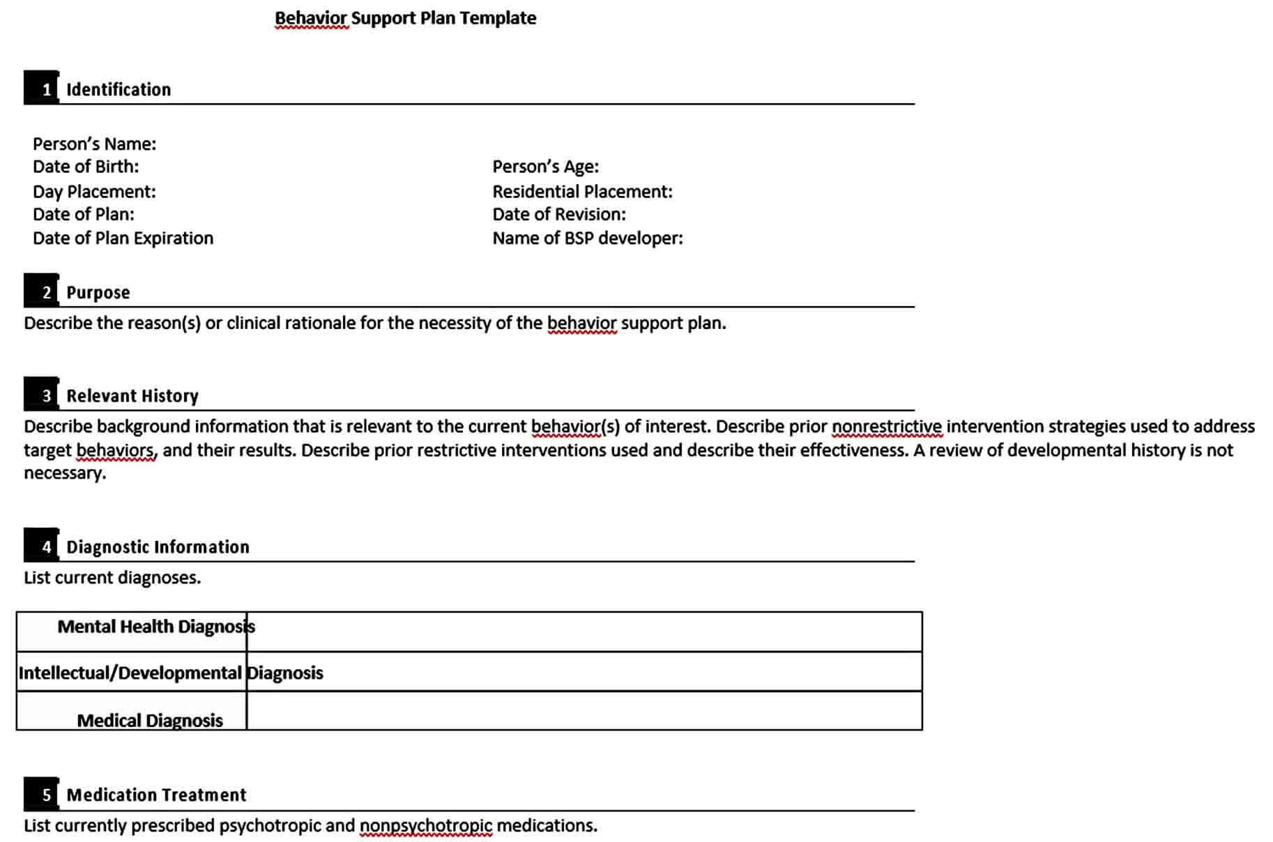 Templates Behaviour Support Plan Templa