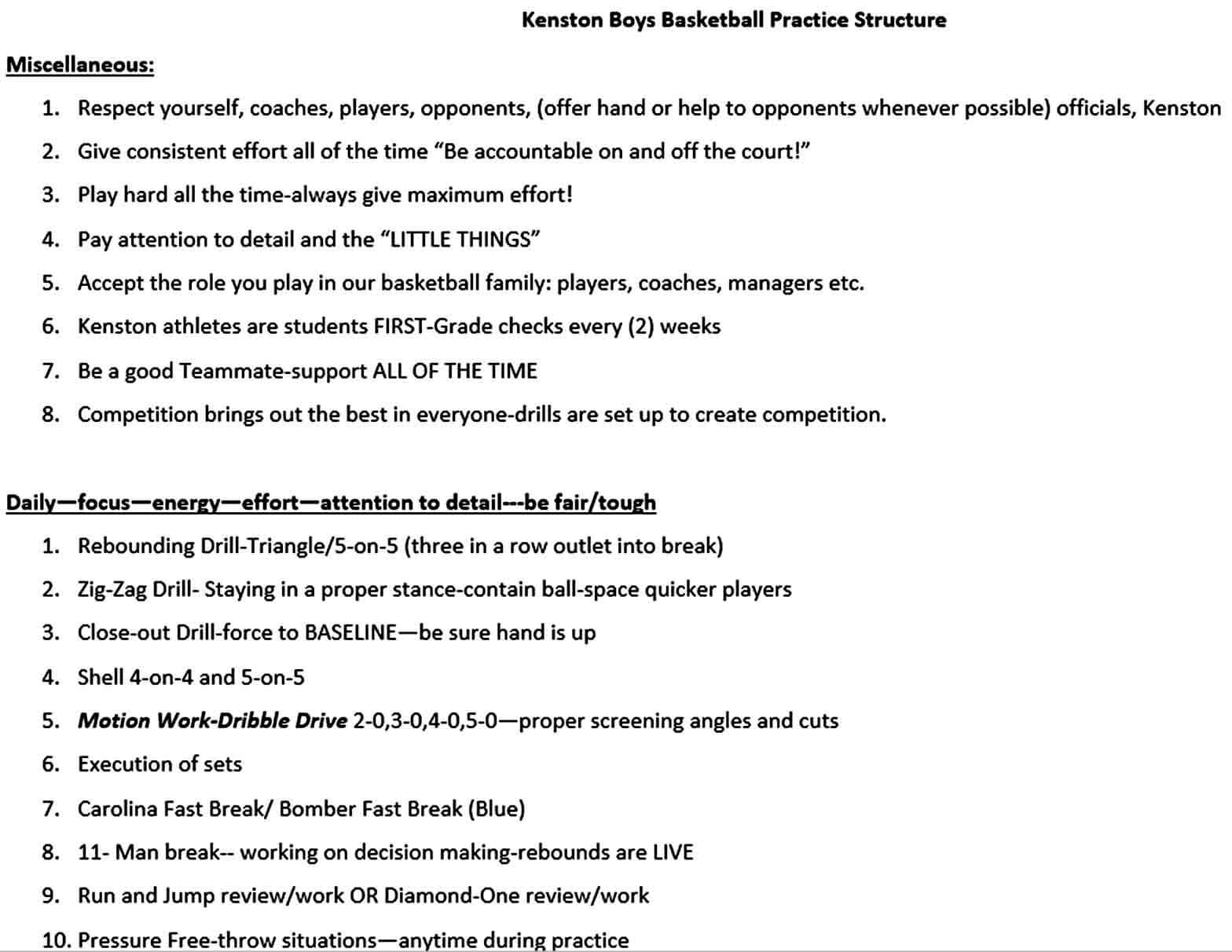Templates Boys Basketball Practice Plan Word Template Free Do