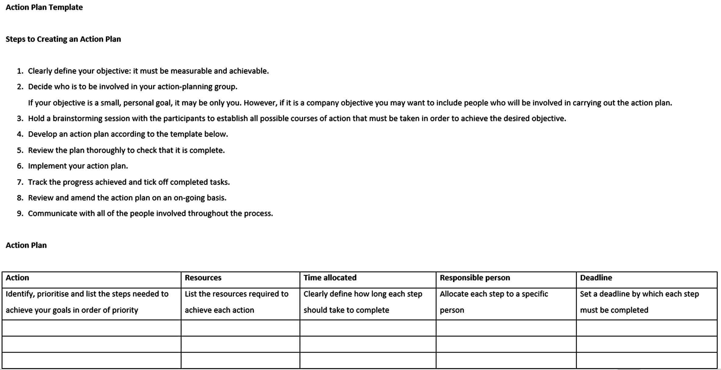 Templates Business Action Plan E