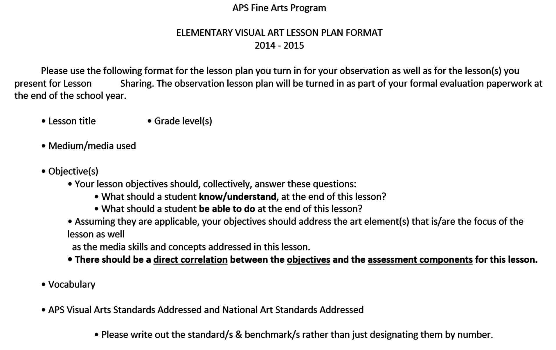Templates Elementary Visual Art Lesson Plan Free Word Do
