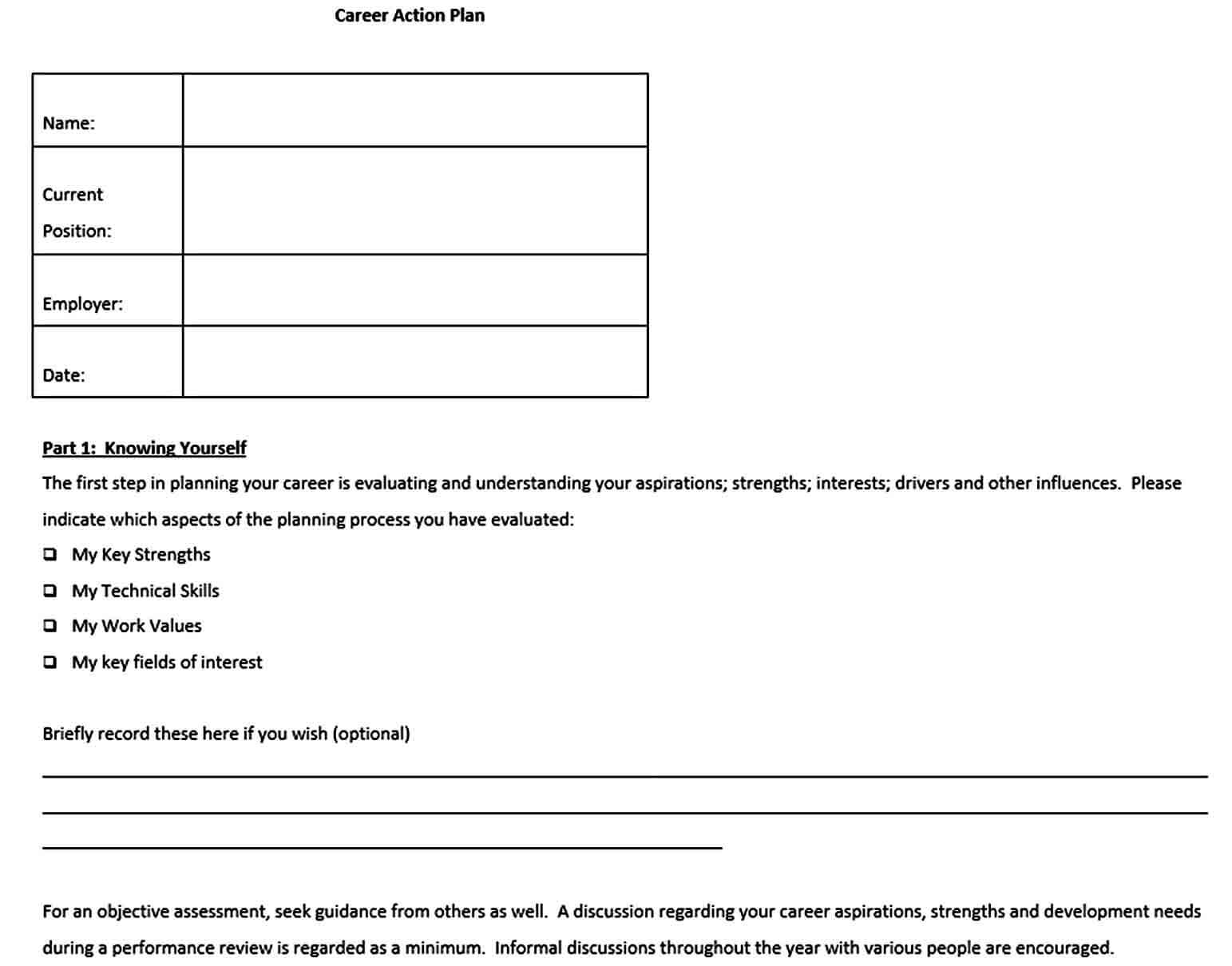 Templates Free Career Action Plan Template Word