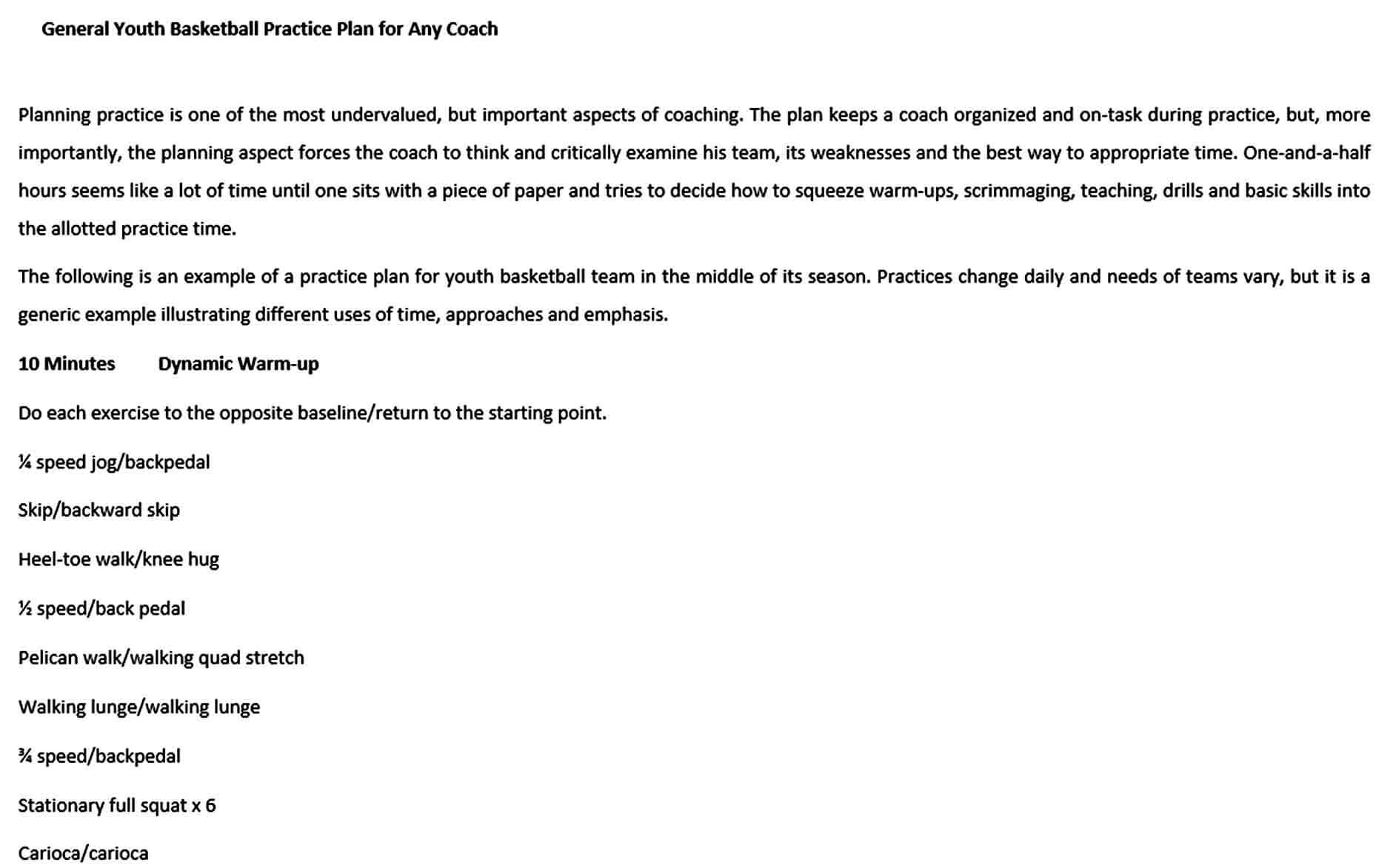 Templates General Youth Basketball Practice Plan for Any Coach Free Word Do