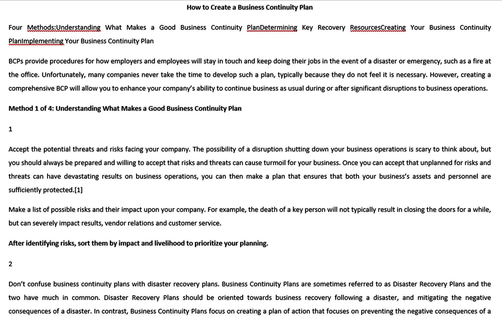 Templates How To Write Business Continuity Plan Te