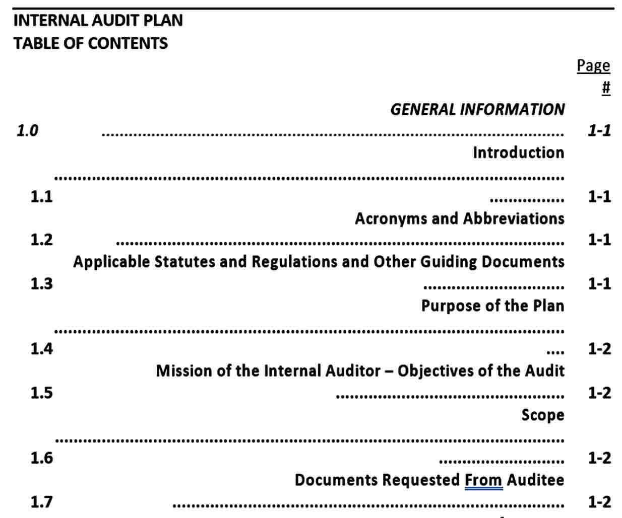 Templates Internal Audit Plan Te