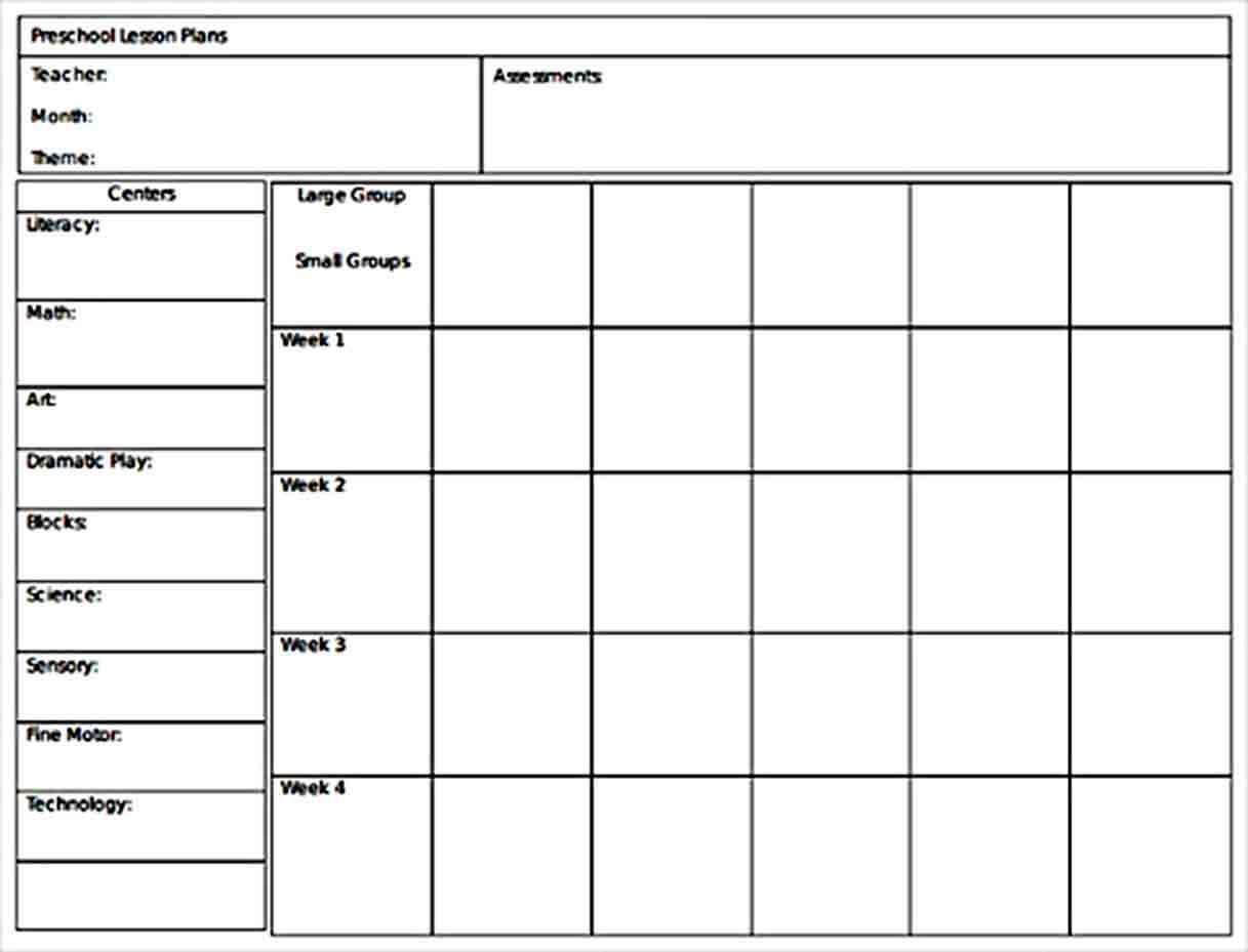 Templates Monthly Preschool Lesson