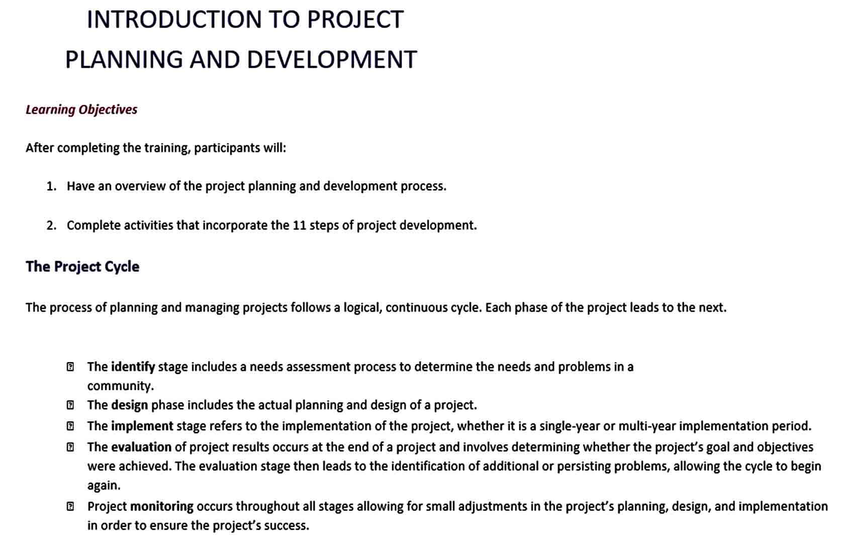 Templates Project Development Plan