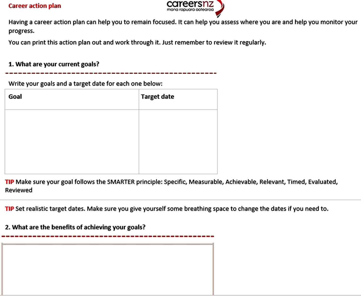 Templates Sample Career Action Plan Template PDF Do