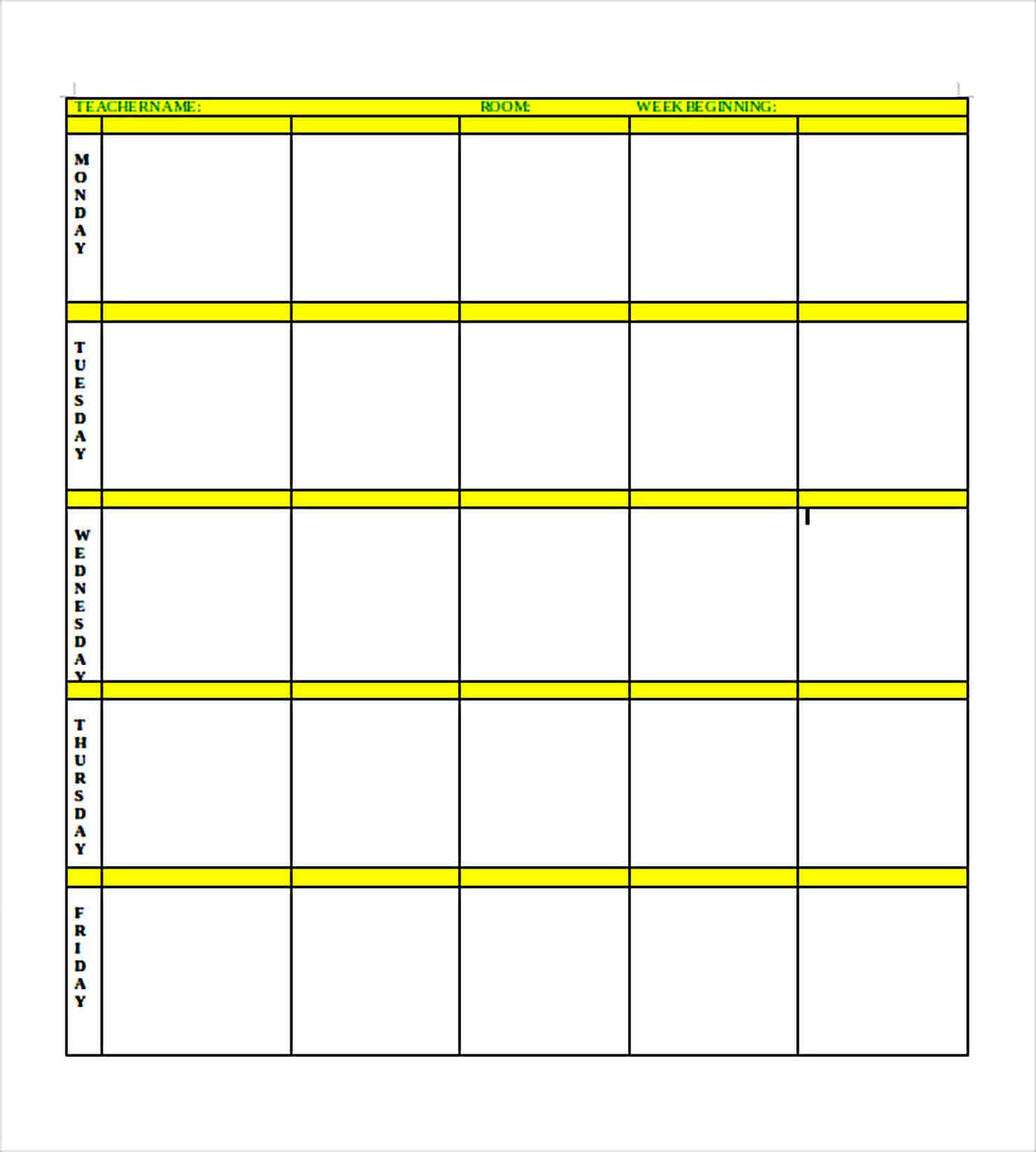 Templates Simple blank lesson plan templa