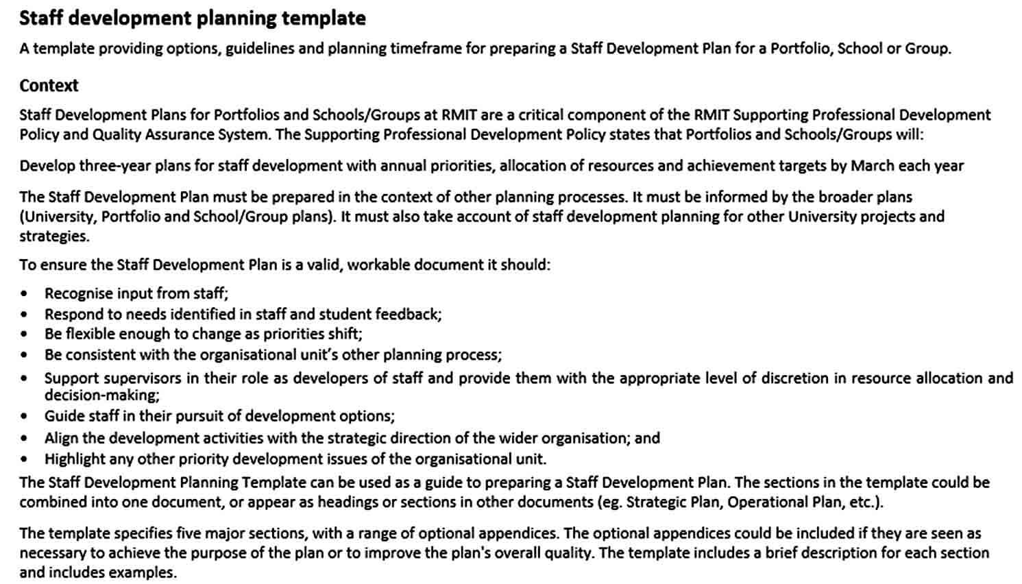 Templates Staff Development Planning Te
