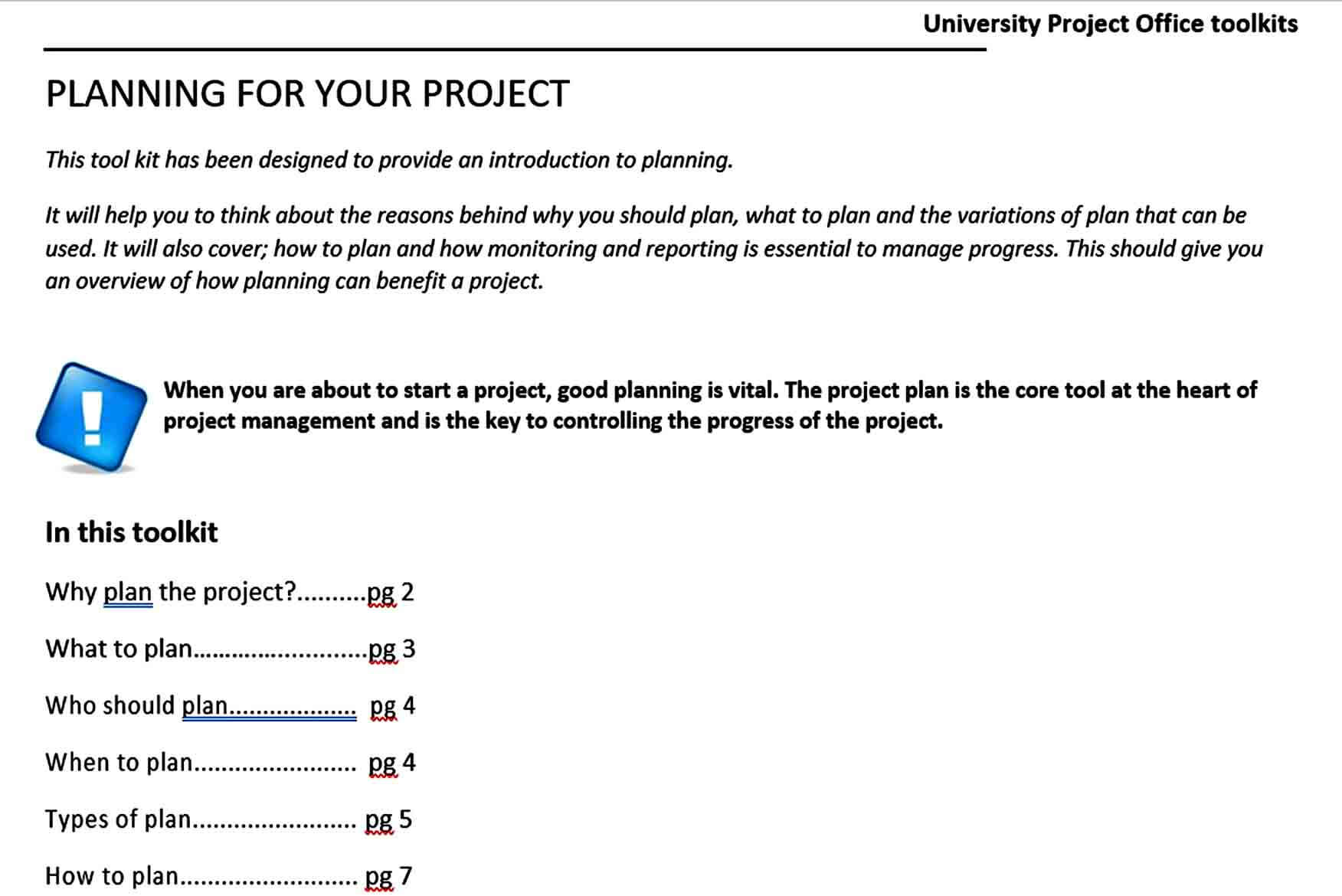 Templates University Project Plan Te