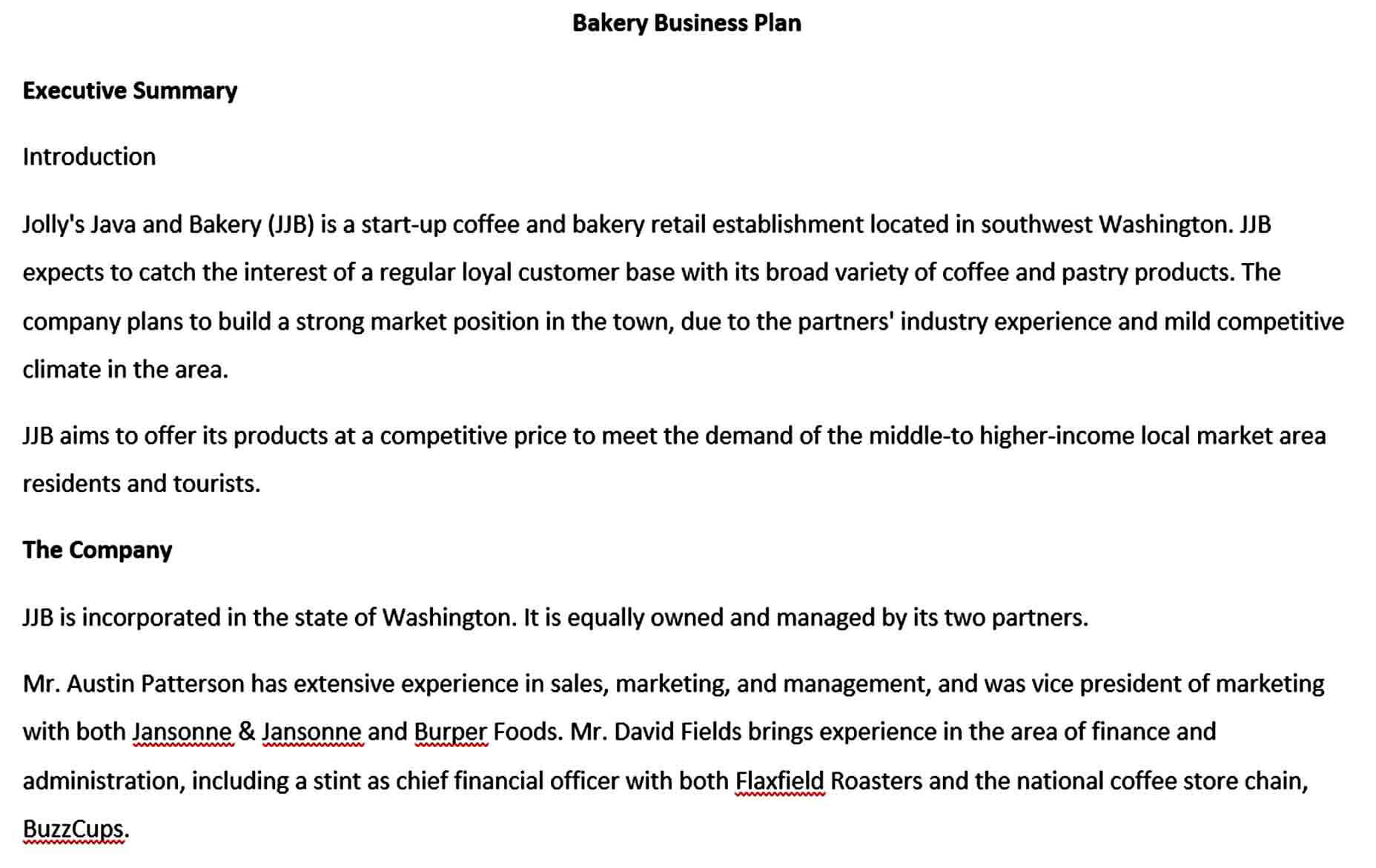 Templates bakery business plan