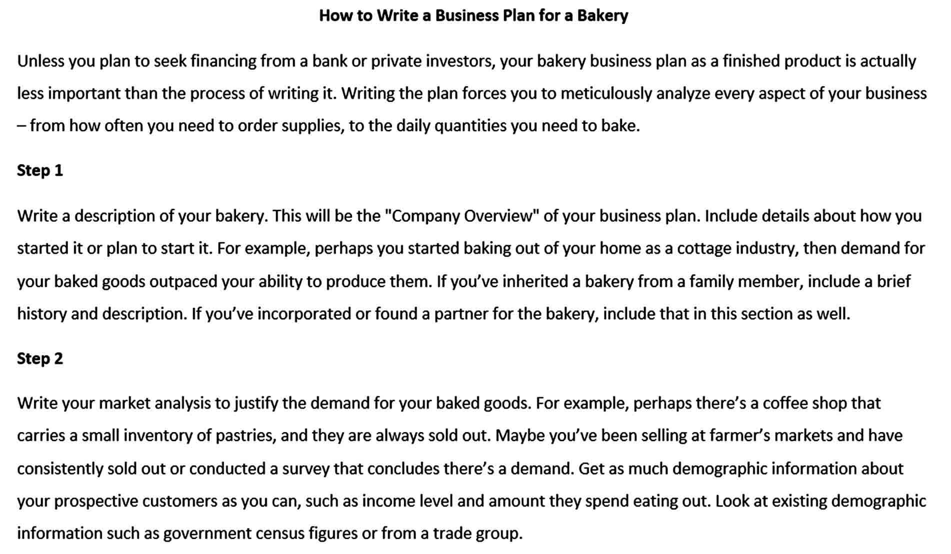 Templates how to write a bakery busines