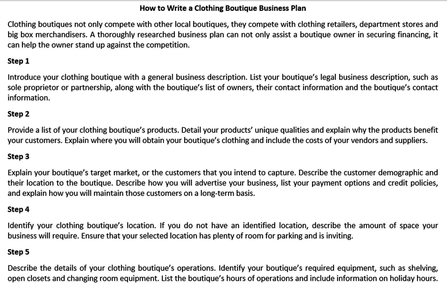 Templates opening a boutique busines