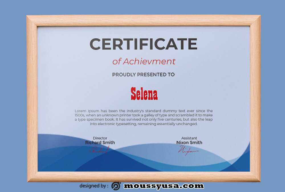 Achievment Certificate Template Sample