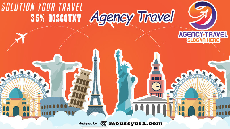 Agency Travel Banner Design PSD