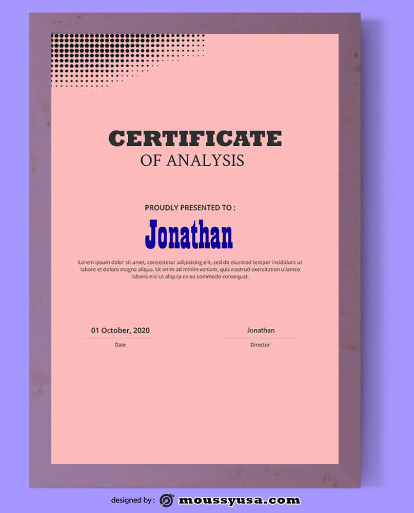 Analysis Certificate Design PSD