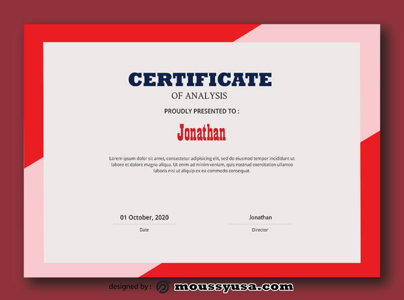 Analysis Certificate Design Template