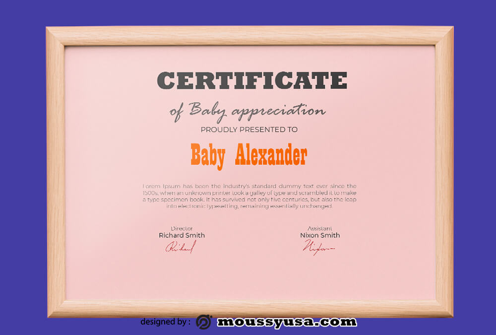 Baby Certificate Template Design