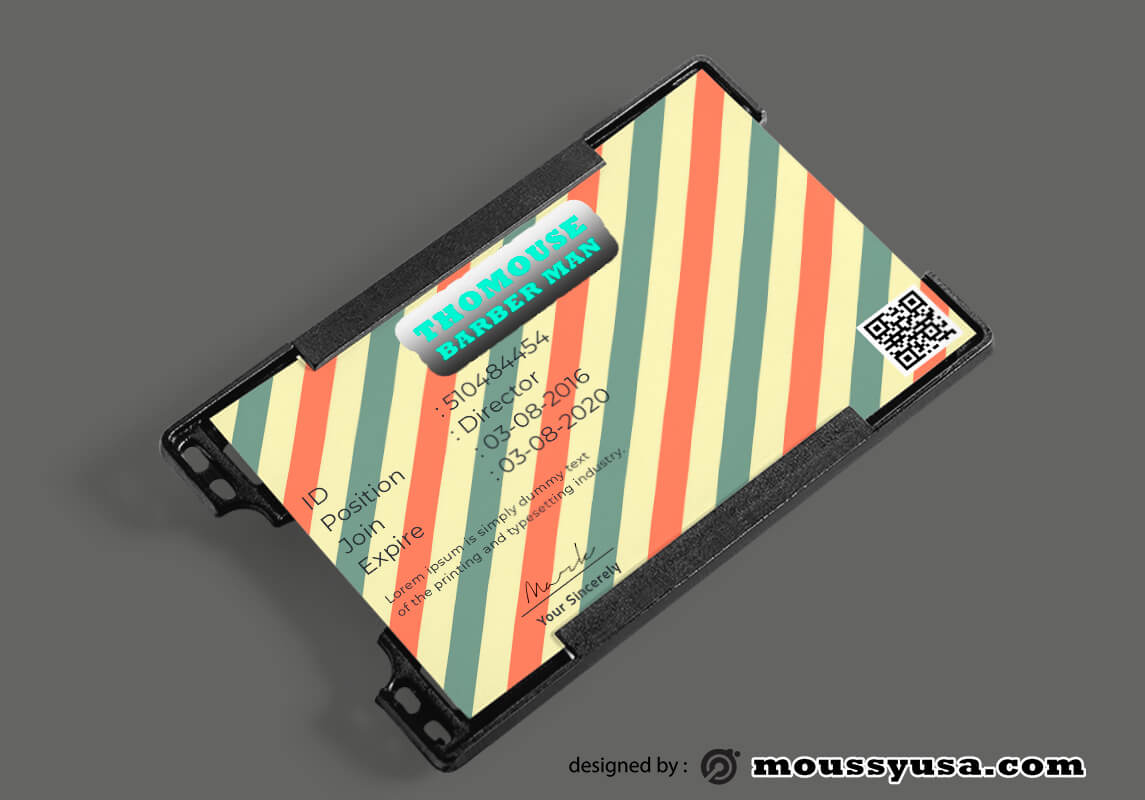 Barbershop ID Card Template Sample