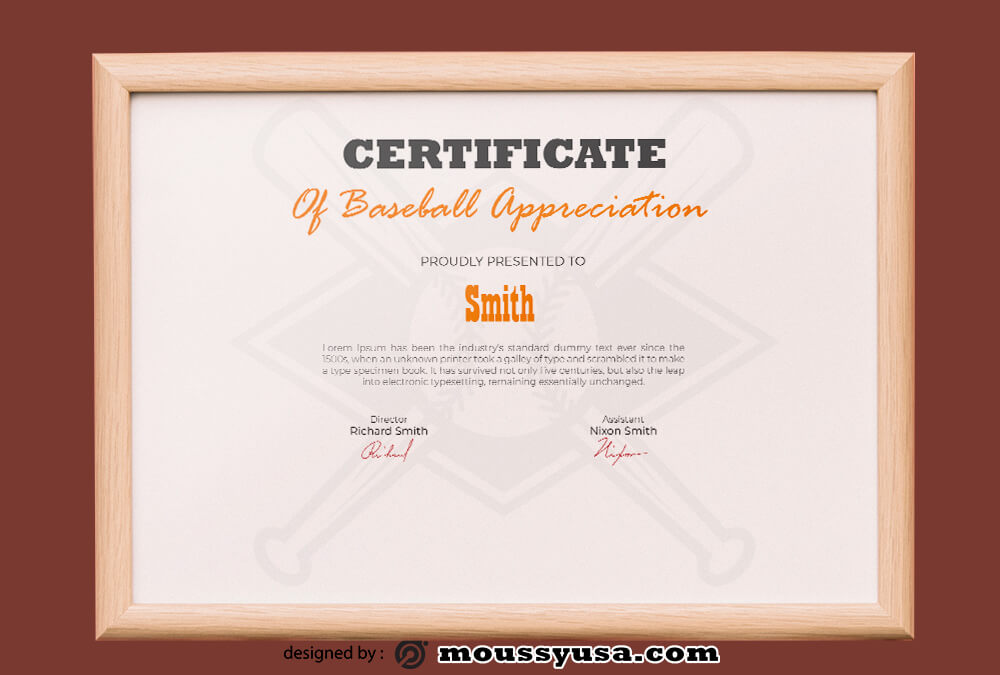 Baseball Certificate Design Ideas