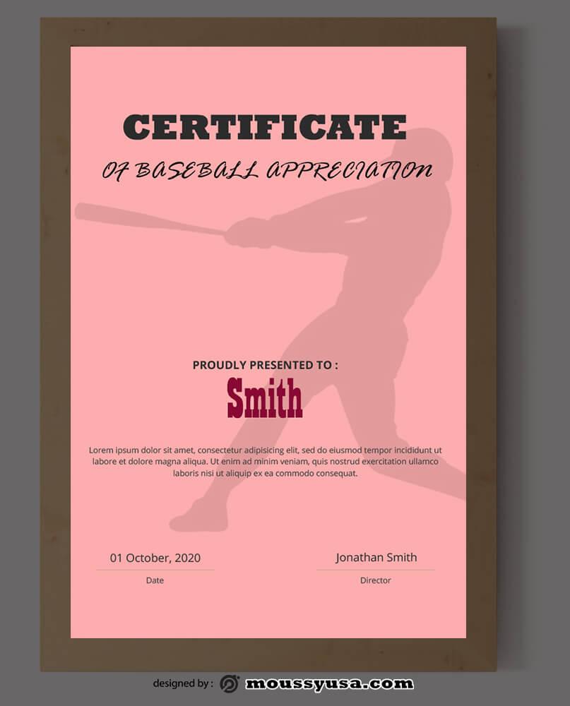 Baseball Certificate Design PSD