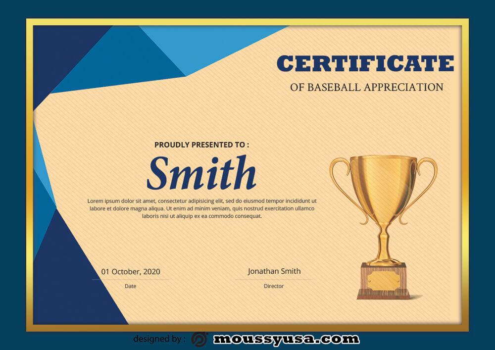 Baseball Certificate Design Template