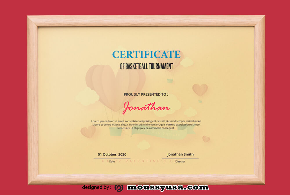 Basketball Tournament Certificate Template Example