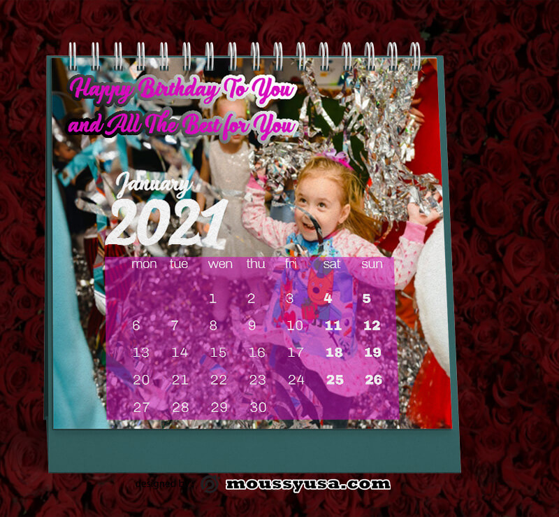 Birthday Party Calender Template Sample