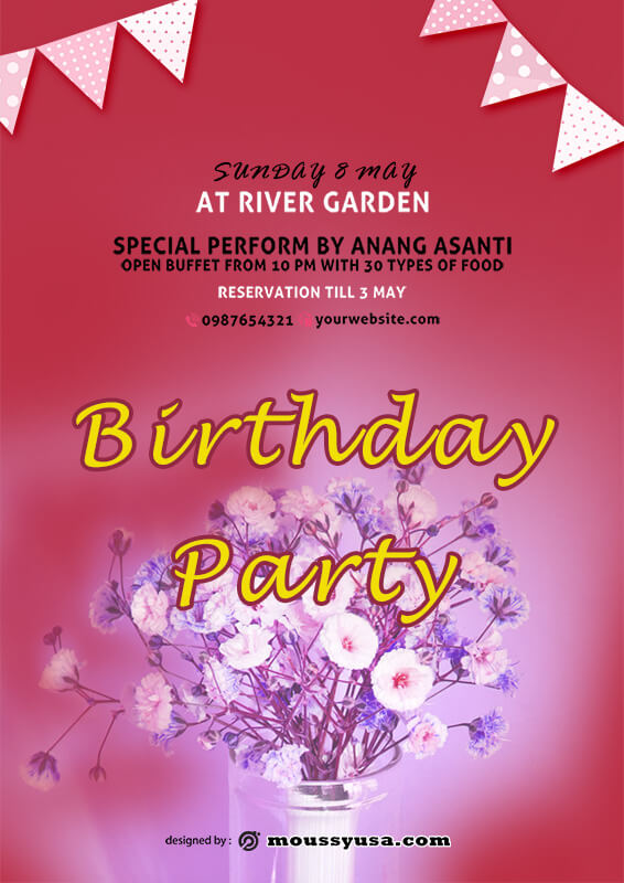 Birthday Party Poster Template Design