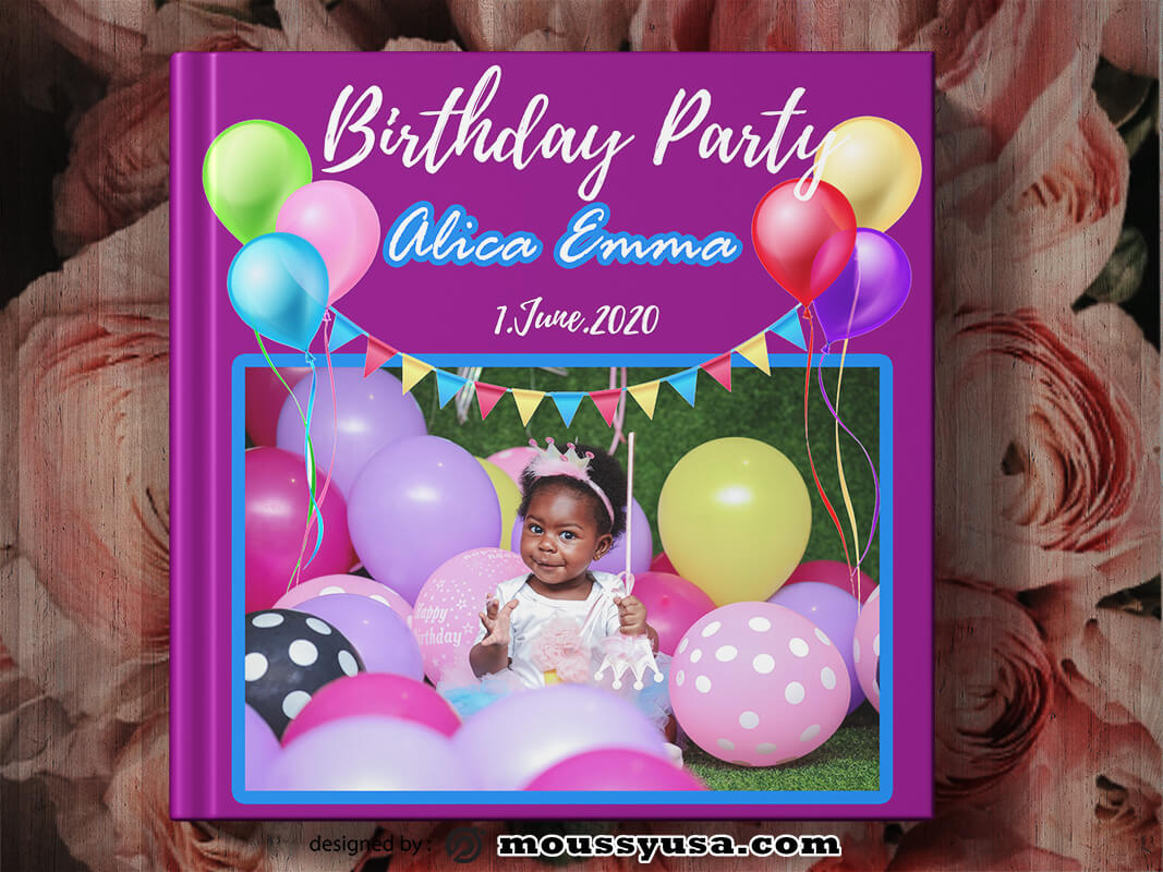 Birthday Photo Book Cover Design Template