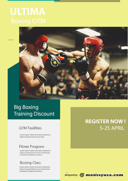 Boxing GYM flyer template sample
