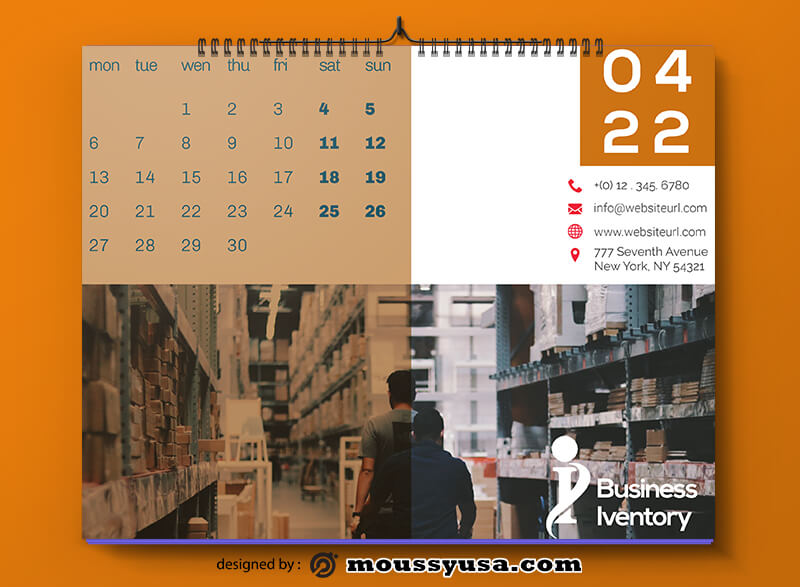 Business Inventory Calender Template Sample