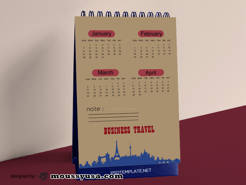 Business Travel Calender Template Design