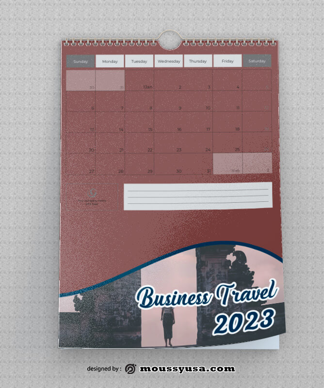 Business Travel Calender Template Example