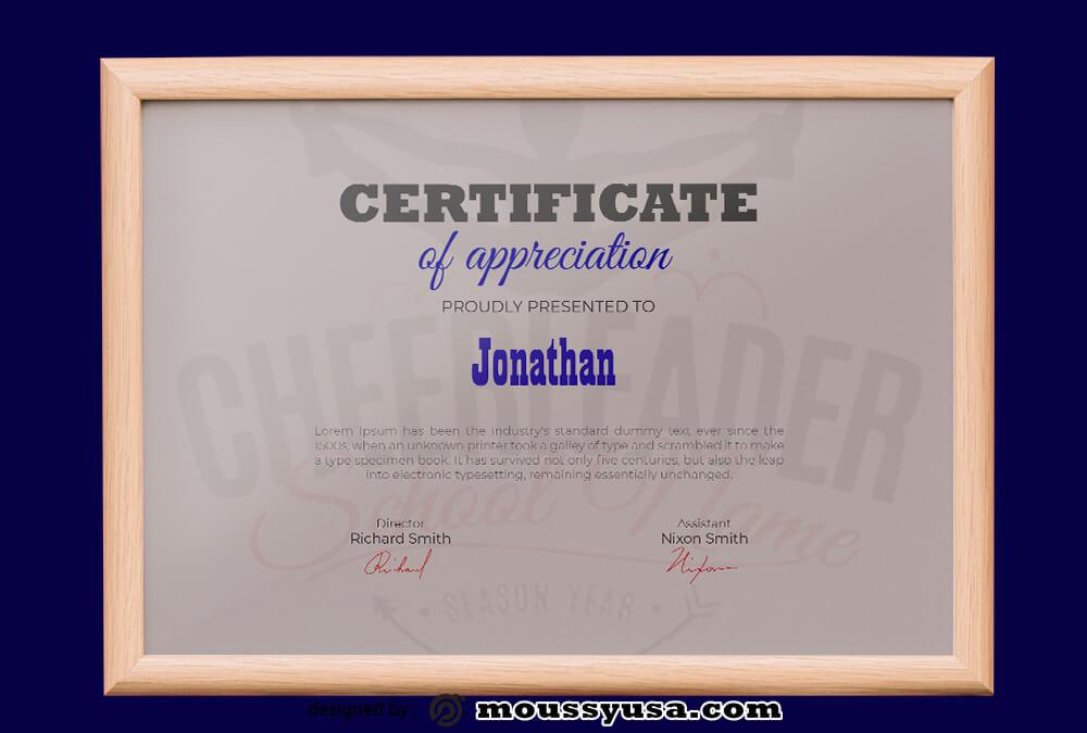 Cheerleading Certificate Design PSD