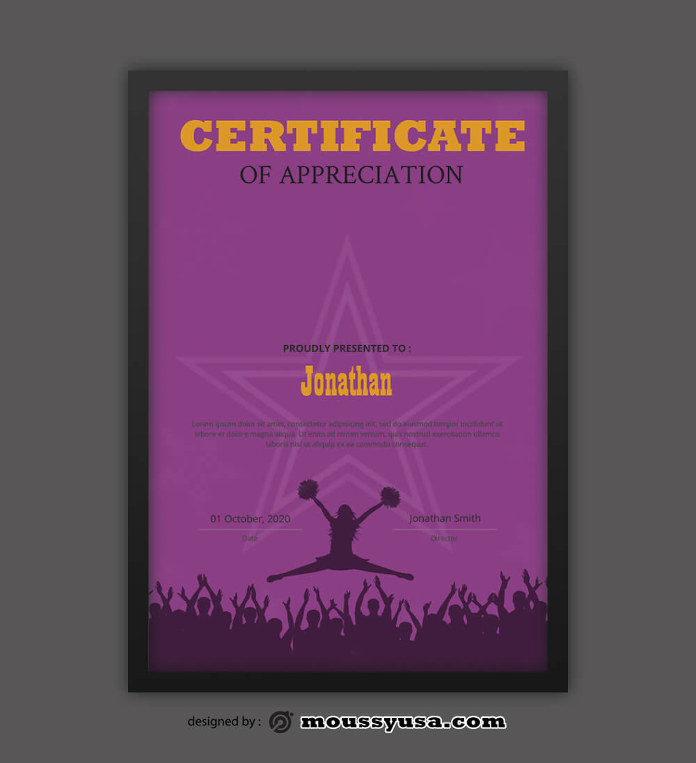 Cheerleading Certificate Design Template