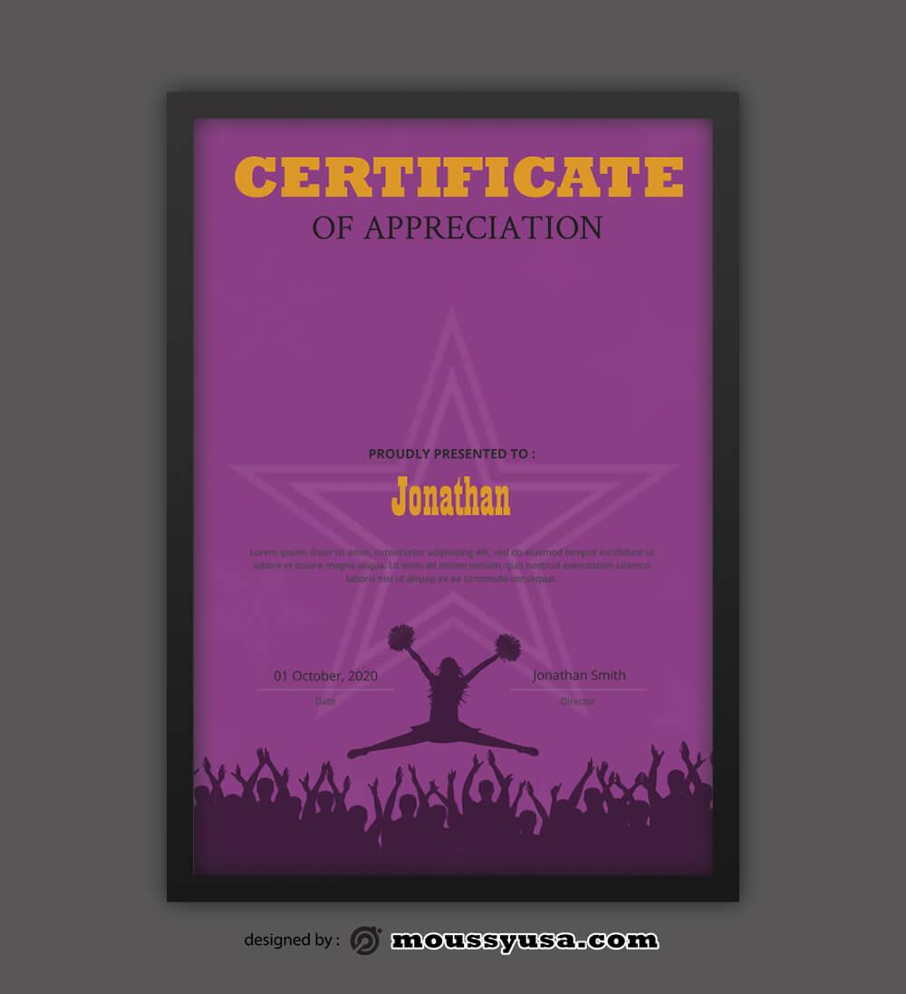 Cheerleading Certificate Design Template