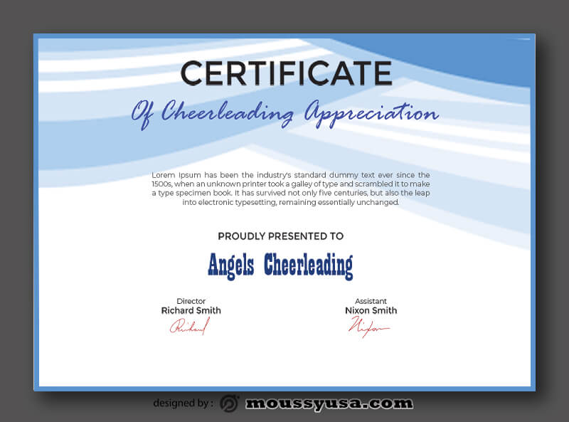 Cheerleading Certificate Template Example