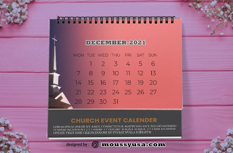 Church Event Calender Template Example