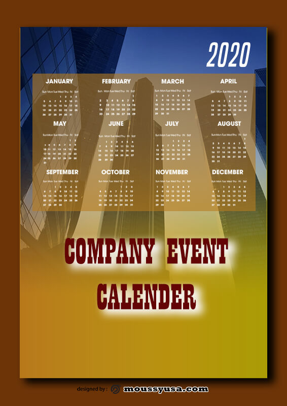 Company Event Calender Template Example