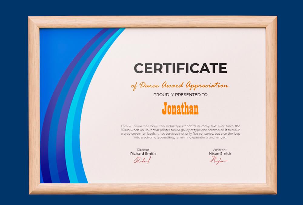 Dence Award Certificate Design Ideas