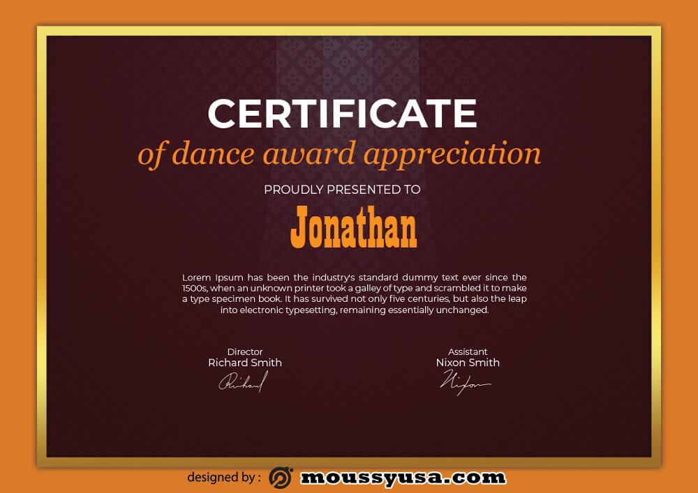 Dence Award Certificate Template Sample