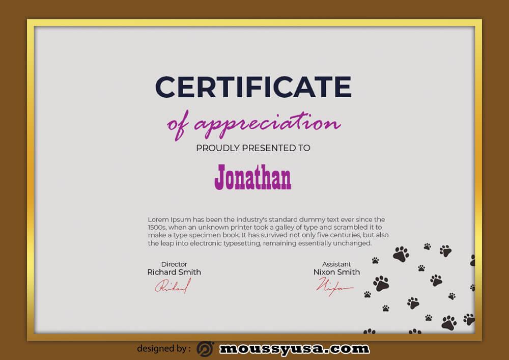 Dog Certificate Design Template