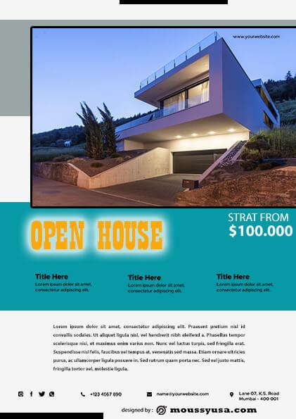 Elegant Open House Flyer design psd