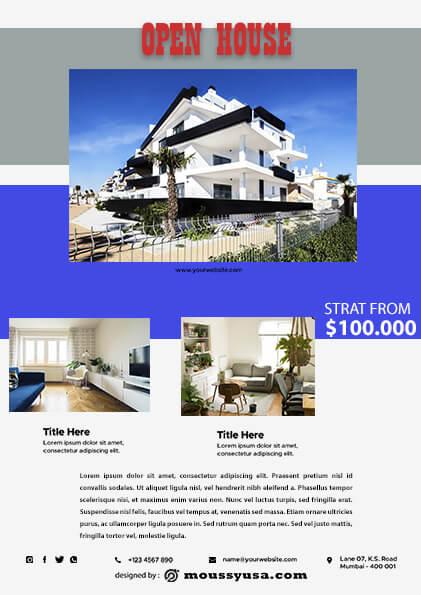 Elegant Open House Flyer design template