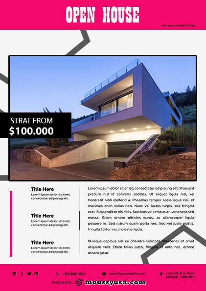 Elegant Open House Flyer template design