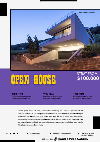 Elegant Open House Flyer template example