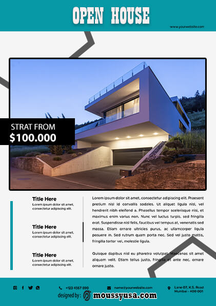 Elegant Open House Flyer template ideas
