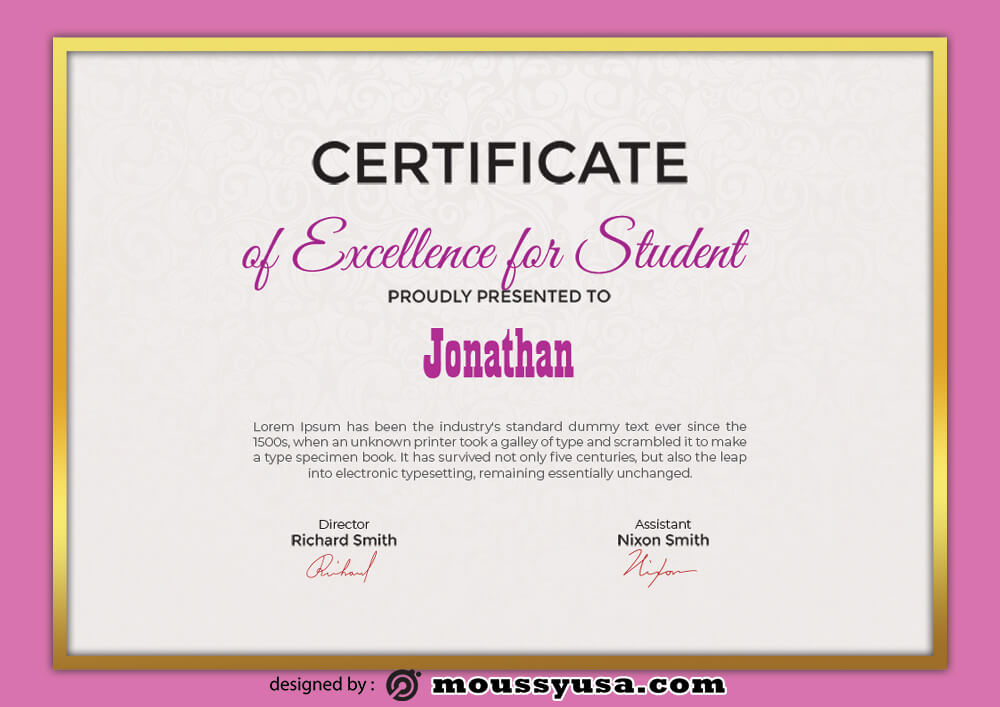 Excellence For Studentc Certificate Template Ideas